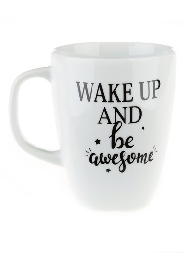 Morhipo Home Wake Up And Be Awesome - Çift Taraflı Kupa Beyaz